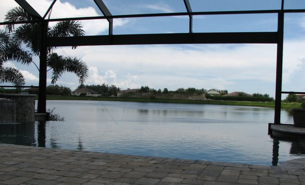 infinity pool in waterside setting