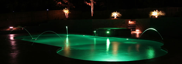 fire and water features lit by LED's